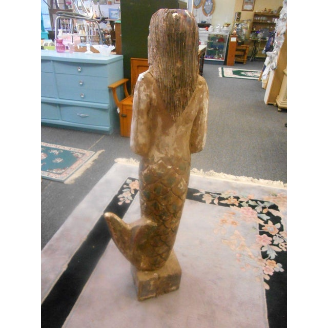 Vintage Carved Wood Mermaid Sculpture