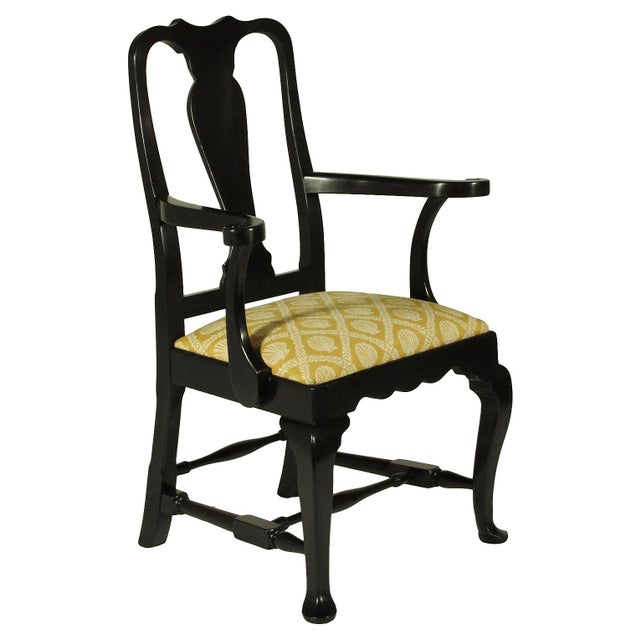 Queen Anne Black Lacquer Dining Chairs - Set of 8 For Sale - Image 3 of 5