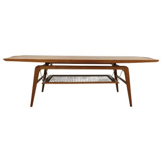 Teak & Brass Floating Coffee Table For Sale