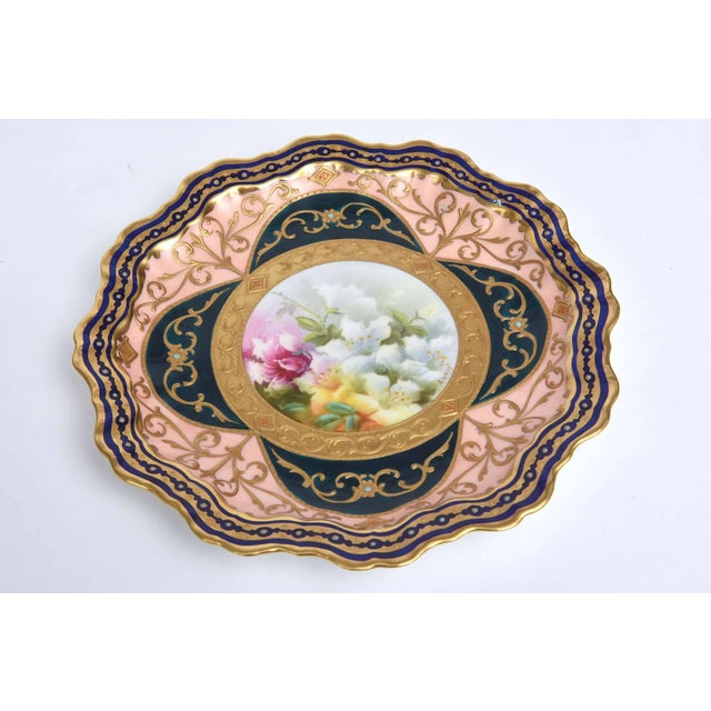 Late 19th Century Exquisite and Elaborate Cabinet or Display Plates Pair, Fine Art Gilt Encrusted For Sale - Image 5 of 9