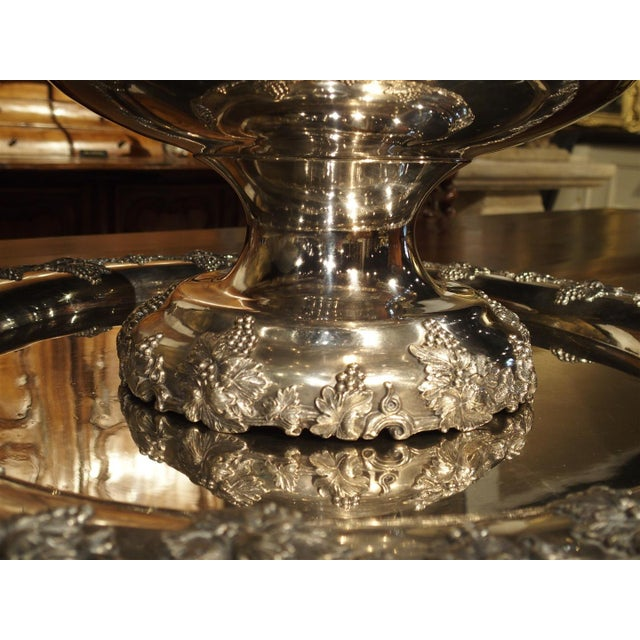 A Circa 1900 Silver Plated Punch Bowl and Tray For Sale In Dallas - Image 6 of 11