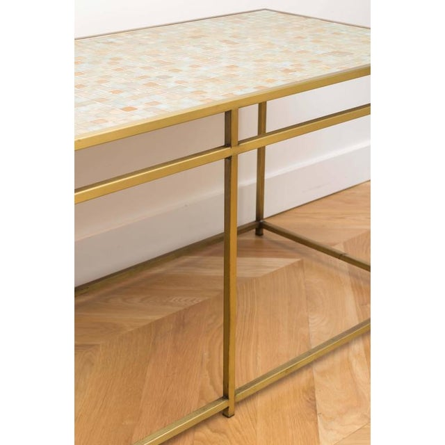 Brass Brass Tile-Top Console Table For Sale - Image 7 of 8