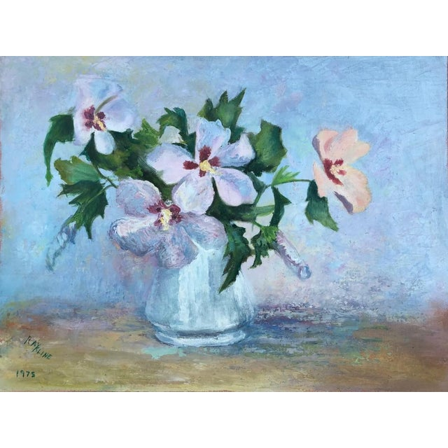 A signed painting that feels like an impressionist artist clipped their own flowers from a garden and created this...