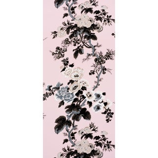 Schumacher Pyne Hollyhock Wallpaper in Blush For Sale