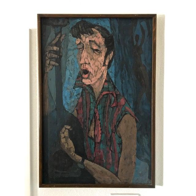 "Richard Campbell Mid-Century ""Minstrel"" Original Painting - Image 2 of 6"