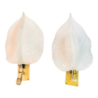 Murano Glass Gold Leaf Leaf Sconces For Sale
