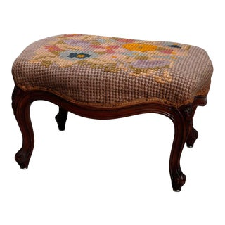 Antique French Louis XV Style Needlepoint Walnut Footstool For Sale