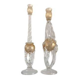 Murano Glass Candlesticks by Seguso - a Pair For Sale