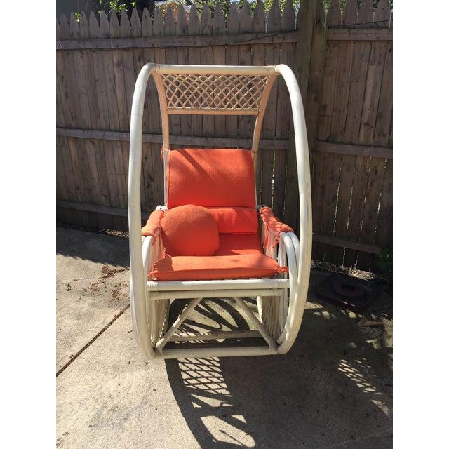 Boho Chic 1960s Boho Chic Italian Orange Rattan Rocking Chair For Sale - Image 3 of 5