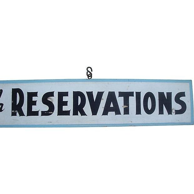 Americana Vintage Rustic Painted Blue Wood Hanging Sign For Sale - Image 3 of 7