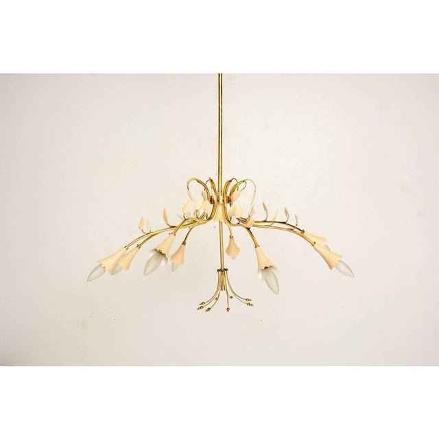 For your consideration a beautiful Italian chandelier constructed with brass and aluminum shades. Eight arms decorated...