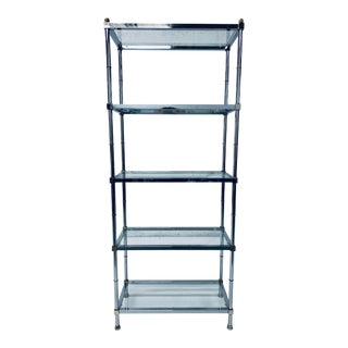 Polished Chrome and Brass Etagere With Glass Shelves For Sale