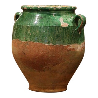Rare 19th Century Green Glazed Pottery Confit Pot From Southwest France For Sale