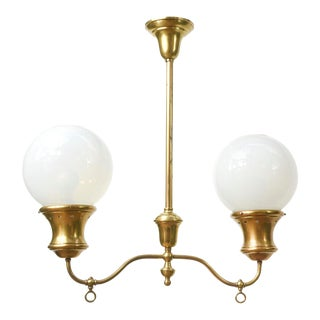 Two Light Gas Fixture with Round Opaline Glass For Sale