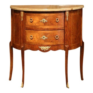 19th Century French Louis XV Bombe Demilune Marquetry Commode With Marble Top