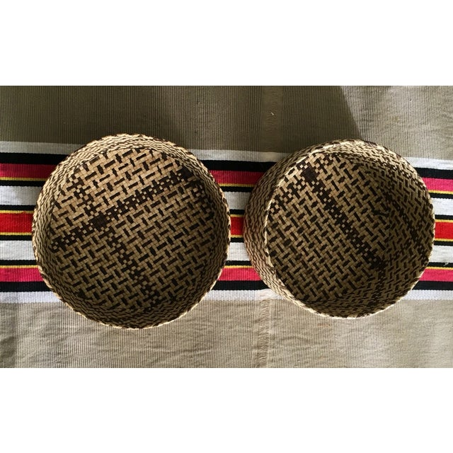 Vintage Woven African Round Box With Lid - Image 4 of 8