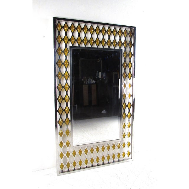 Orange Large Mid-Century Chrome and Amber Blown Glass Mirror For Sale - Image 8 of 8
