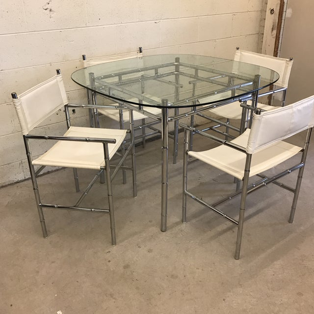 Chrome Faux Bamboo Dinette Set For Sale - Image 4 of 10