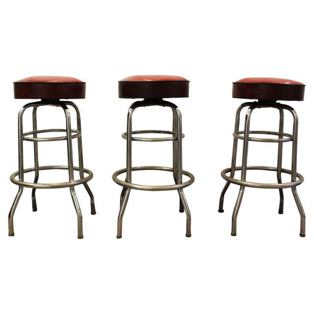 Mid Century Modern Swivel Bar Stools -- Set of 3 - Image 1 of 11