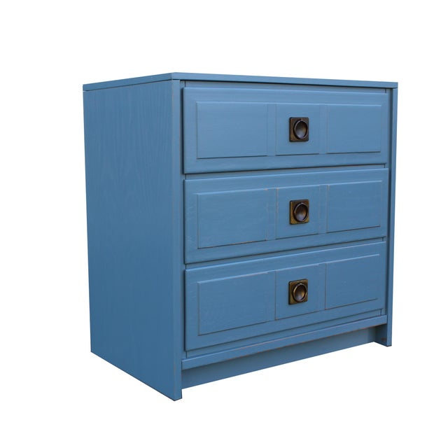 Pair of Campaign Style Nightstands For Sale - Image 4 of 9