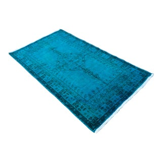 Blue Overdyed Turkish Hand Knotted Rug Oushak Area Rug- 3′10″ X 6′11″ For Sale