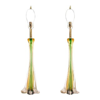 Cenedese Murano Glass Table Lamps - A Pair