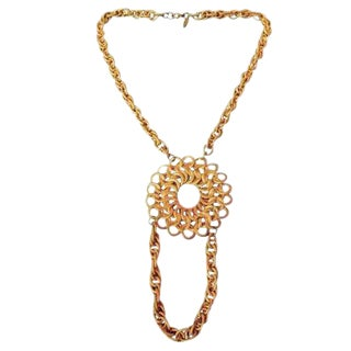Miriam Haskell Gilt Metal Necklace. 1970's. For Sale