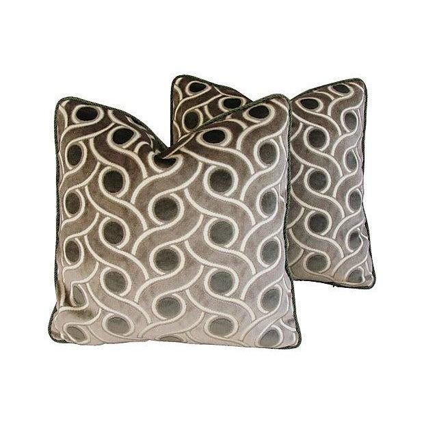 Osborne & Little Cut Velvet Pillows- A Pair - Image 1 of 7