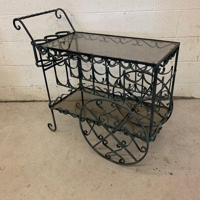 Glass Verdigris Wrought Iron Scroll Tea Liquor Cart For Sale - Image 7 of 11