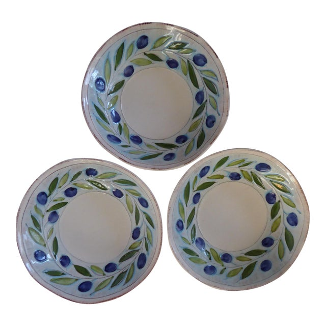Vintage Blue/Green Italian Hand Crafted Serving Bowls - Set of 3 For Sale
