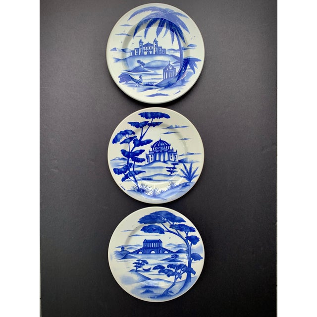 Hand-Painted Italian Ceramic Blue and White Plates - Set of 3 For Sale - Image 12 of 12