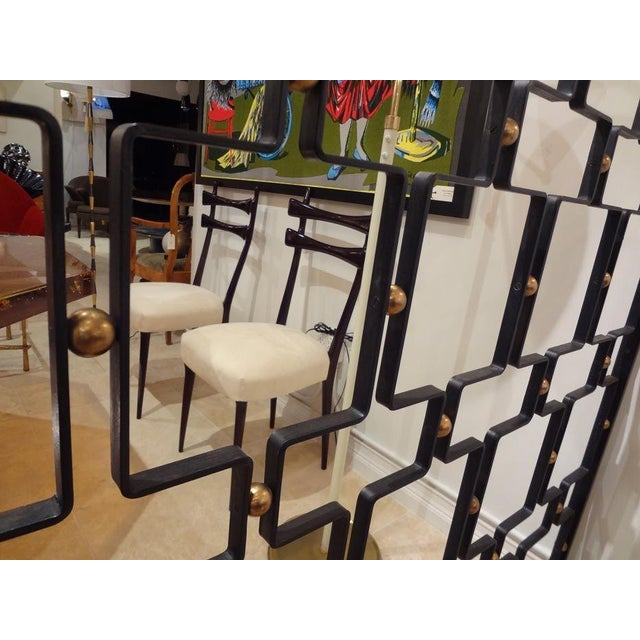 Jean Royere Large Wrought Iron and Brass Screen France circa 1955 For Sale In New York - Image 6 of 8