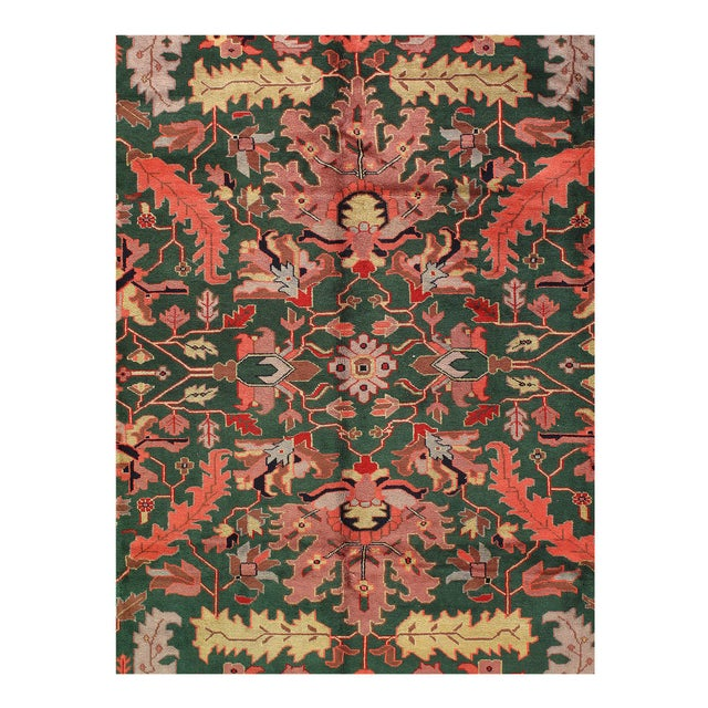 Industrial Pasargad Green Fine Sultanabad Rug-9' X 12' For Sale - Image 3 of 4