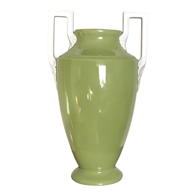 Large Neoclassical Green Ceramic Vase With White Square Handles by Global Views For Sale