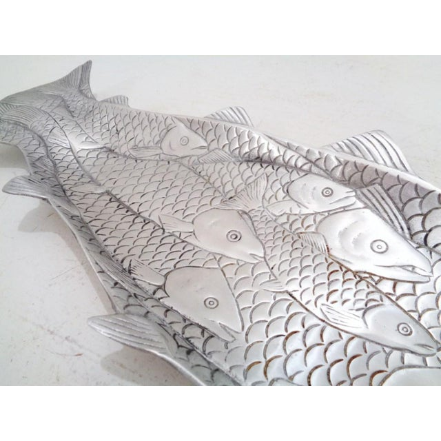 Delightful sculpted school of salmon platter designed by Arthur Court ~ c. 1980's. Thick polished aluminum with red...