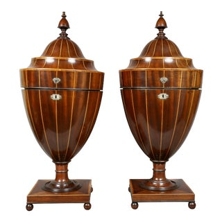 Pair of Regency Mahogany and Inlaid Cutlery Urns For Sale
