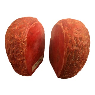 1950s Vintage Italian Red Marble Bookends-a Pair For Sale