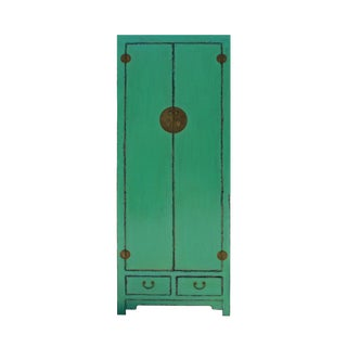Chinese Oriental Distressed Aqua Green Moonface Tall Storage Cabinet For Sale