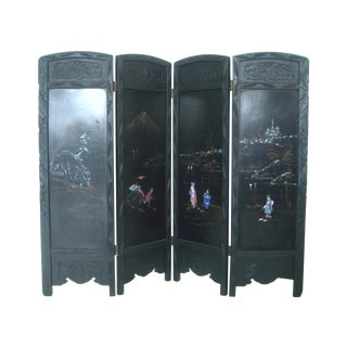 Japanese Mother of Pearl Inlayed Black Room Divider/Screen For Sale
