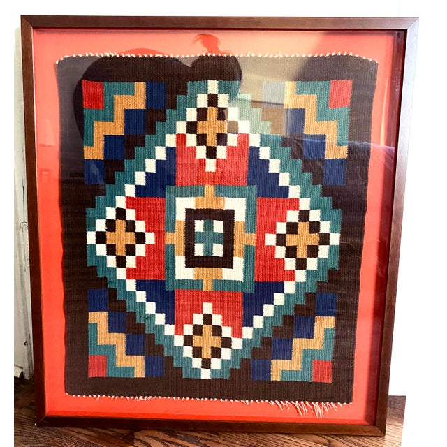 Scandinavian Red Textile in Red Shadow Box Frame For Sale - Image 4 of 13