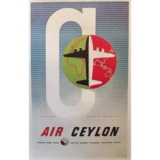 Modern Vintage-Style Air Ceylon Travel Poster For Sale