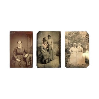 Vintage Tintypes of Women - Set of 3 For Sale