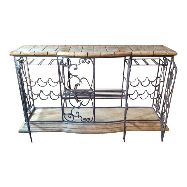 Henredon Registry Collection Terra Cotta & Wrought Iron Console For Sale
