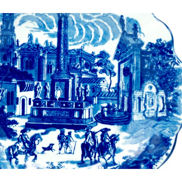English Late 19th Century Ironstone Blue and White Town Scene Plate For Sale - Image 3 of 10