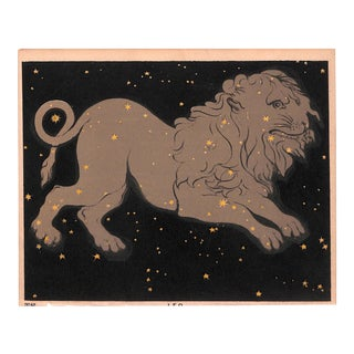 Astronomy, Constellation, Leo, Antique Matted Print, 1845 For Sale