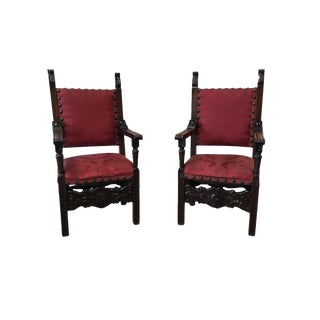 Italian Renaissance Revival Carved Armchairs - A Pair For Sale