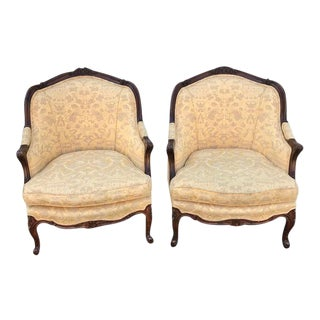 Early 20th Century Carved French Style Bergeres - a Pair For Sale