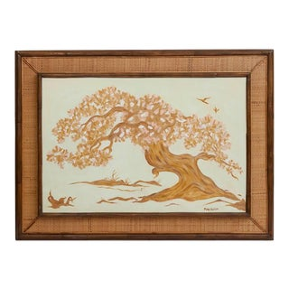 Rattan Framed Cherry Blossom Oil on Canvas Painting For Sale