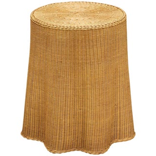 Trompe l'Oeil Rattan Draped Wicker Ghost Entryway Table Pedestal Mid-Century For Sale