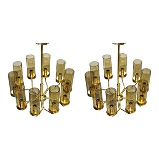 Mid-Century Modern T10 Hans-Agne Jakobsson Chandeliers in Brass by Ab Markaryd - a Pair For Sale
